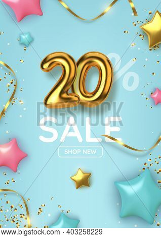 20 Off Discount Promotion Sale Made Of Realistic 3d Gold Balloons With Stars, Sepantine And Tinsel.