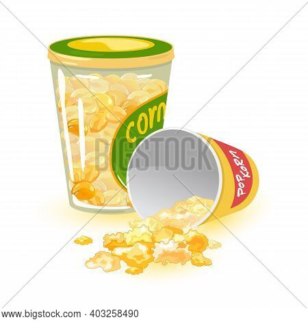Sweet Popcorn Dessert Made Of Caramelized Sugar Maize. Vector Snack Or Lunch, Enlarged Yellow Vegeta