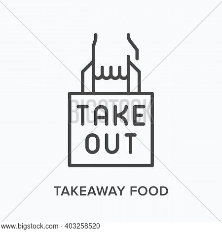 Takeaway Food Flat Line Icon. Vector Outline Illustration Of Hand And Paper Bag. Black Thin Linear P