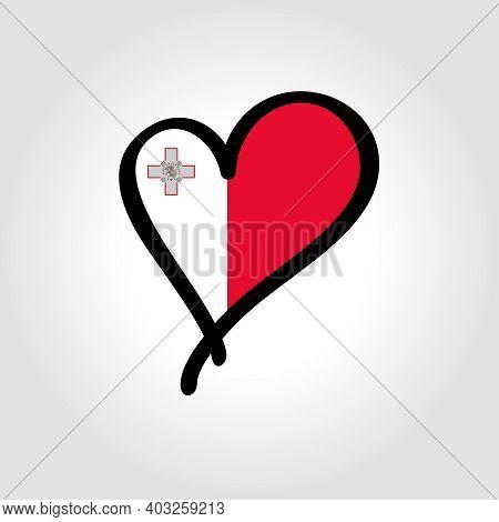 Maltese Flag Heart-shaped Hand Drawn Logo. Vector Illustration.
