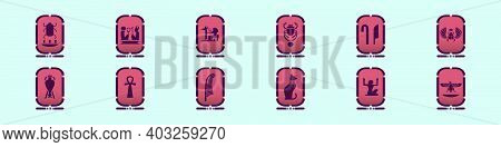 Set Of Cartouche Cartoon Icon Design Template With Various Models. Modern Vector Illustration Isolat