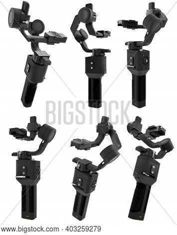 3-axis Gimbal Stabilization System For Mirrorless Camera Isolated On White Background. 3d Rendering