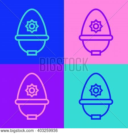 Pop Art Line British Police Helmet Icon Isolated On Color Background. Vector