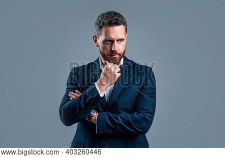 Manage Everything. Male Fashion Accessory. Man In Jacket On Grey Background. Confident Businessman W