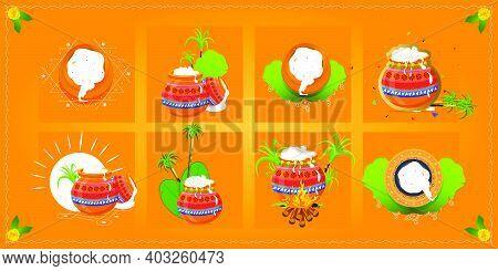 Set Of Happy Pongal Pot Design, Happy Pongal Religious Festival Of South India Celebration Backgroun