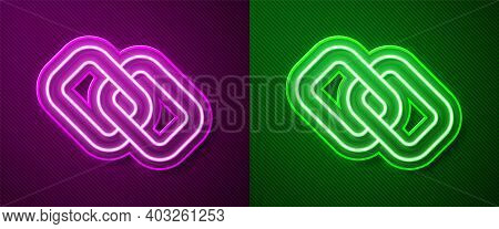 Glowing Neon Line Chain Link Icon Isolated On Purple And Green Background. Link Single. Hyperlink Ch