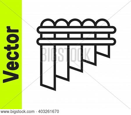 Black Line Pan Flute Icon Isolated On White Background. Traditional Peruvian Musical Instrument. Zam