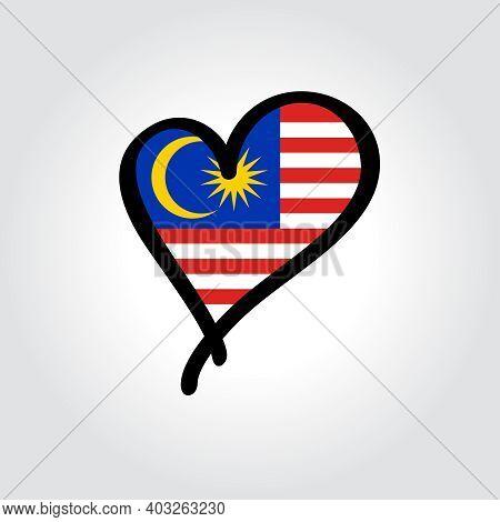 Malaysian Flag Heart-shaped Hand Drawn Logo. Vector Illustration.