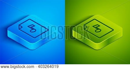 Isometric Line Music Book With Note Icon Isolated On Blue And Green Background. Music Sheet With Not