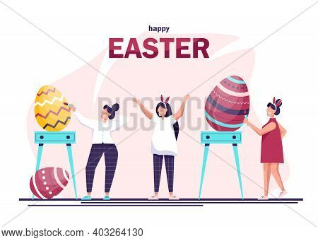 People decorating big Easter eggs. Happy people in celebrating Easter and painting Easter eggs. Traditional spring holidays design elements and characters. Happy easter background, easter design. Happy Easter, easter bunny, easter background, easter banne