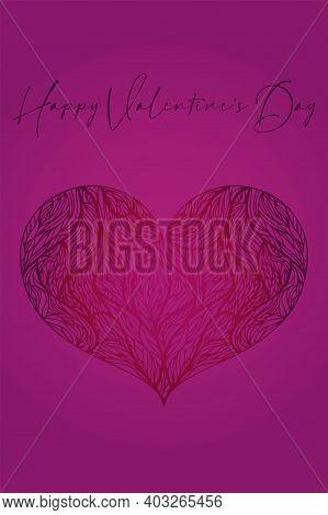 Valentines Day Greeting Card Banner Invitation Flyer Brochure. Delicate Feminine Rich Style. Fuchsia