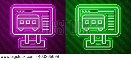 Glowing Neon Line Ticket Office To Buy Tickets For Train Or Plane Icon Isolated On Purple And Green