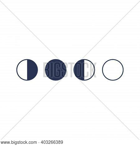 Moon Phases Astronomy Icon. Third Quarter, Full Moon, First Quarter, New Moon.