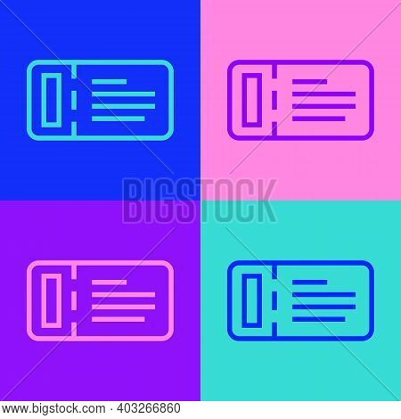 Pop Art Line Cruise Ticket For Traveling By Ship Icon Isolated On Color Background. Travel By Cruise