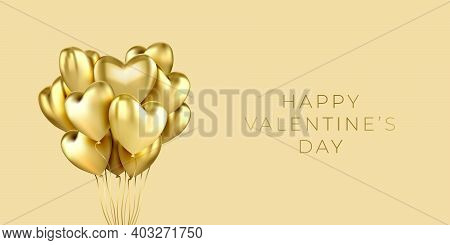 A Bunch Of Heart Shaped Helium Balloons Realistic On A Horizontal Banner