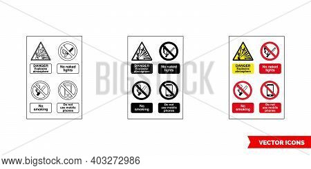 Multi Notice Fire Prevention And Explosive Hazard Sign Icon Of 3 Types Color, Black And White, Outli