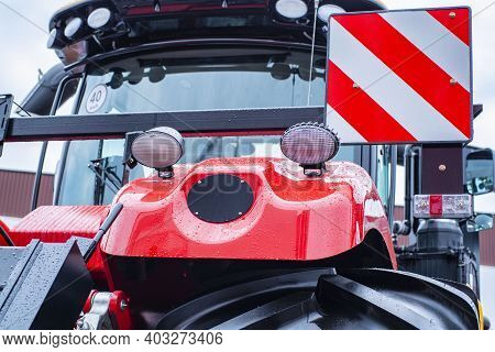 Red Tractor.elements Of A Red Tractor, Combine Harvester Close-up.new Red Tractor