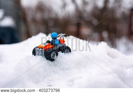 Tambov, Russian Federation - January 28, 2020 Lego All-terrain Vehicle With Explorer Minifigure On S