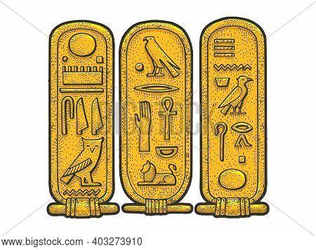 Ancient Egyptian Cartouche Sketch Color Engraving Vector Illustration. T-shirt Apparel Print Design.
