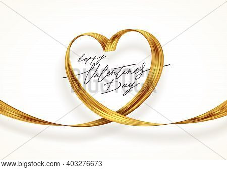 Golden Paint Brush Stroke In The Shape Of Heart. Valentines Day Greeting Card With Golden Ribbon. Ve