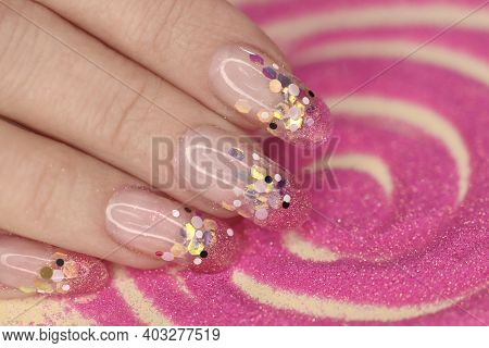 Fashionable Aquarium French Manicure On Long Rounded Nails With Sequins Of Different Sizes.