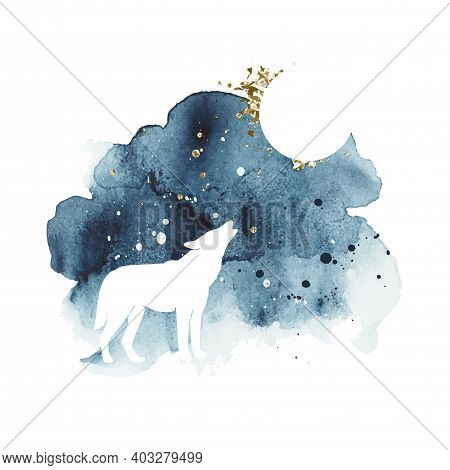 Vector Silhouette Of Wolf Howling At The Full Moon. Watercolor Print With Isolated Animal In Dark An