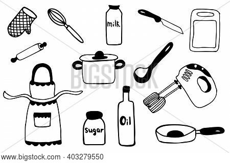 Set Of Kitchen Utensil Doodle. Black And White Sketch Of Kitchen Elements Isolated On White Backgrou