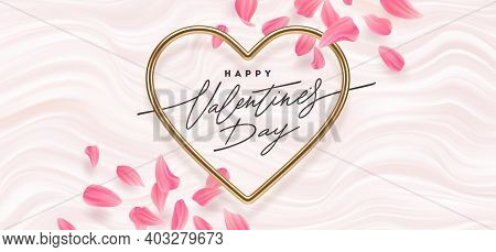 Valentines Day Vector Illustration. Calligraphic Greeting In Heart Shaped Metallic Frame And Flower