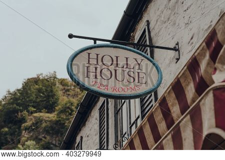 Cheddar, Uk - July 26, 2020: Sign Outside Holly House Tea Rooms In Cheddar, A Village Famous For Its