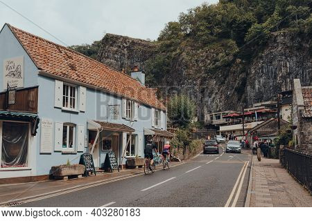 Cheddar, Uk - July 26, 2020: Road Going Through Cheddar, A Village Famous For Its Gorge And Is The B