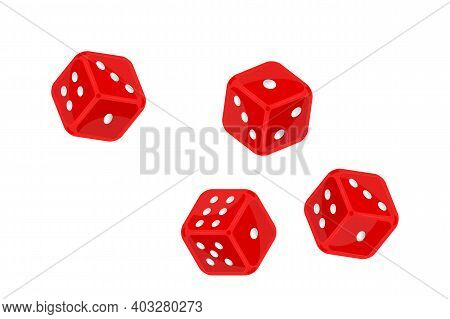 Red Dice In Flight Isolated On White Background. Casino Gambling And Entertainment. Board Game Dice