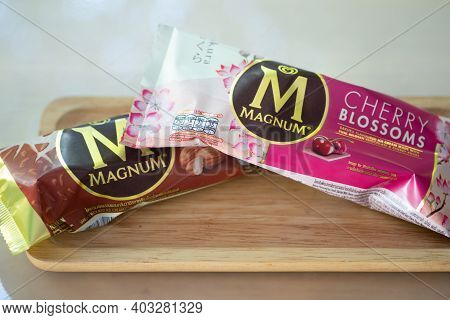 Samut Prakan, Thailand - January 14, 2021 : A Photo Of Magnum Ice Cream In Cherry Blossoms Flavor An