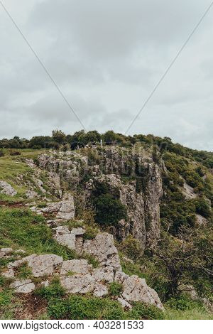 Cheddar Gorge, Uk - July 26, 2020: People On Top Of Cheddar Gorge, A Famous Limestone Gorge In The M