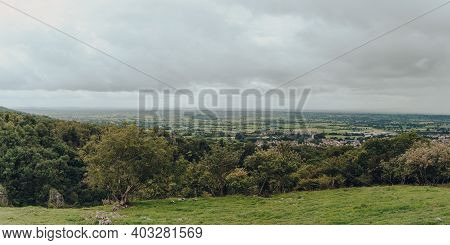 Panoramic View From The Top Of Cheddar Gorge Near The Village Of Cheddar, Somerset, England.