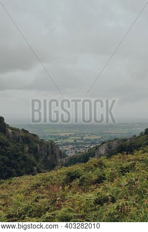 Scenic View From The Top Of Cheddar Gorge Near The Village Of Cheddar, Somerset, England.