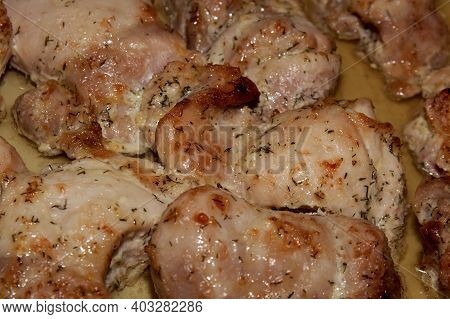A Baked Piece Of Meat, Chicken. Hot Dish. Food For Meat Lovers.