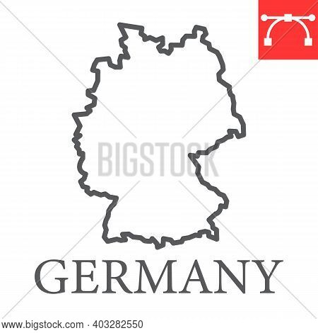 Map Of Germany Line Icon, Country And Geography, Germany Map Sign Vector Graphics, Editable Stroke L