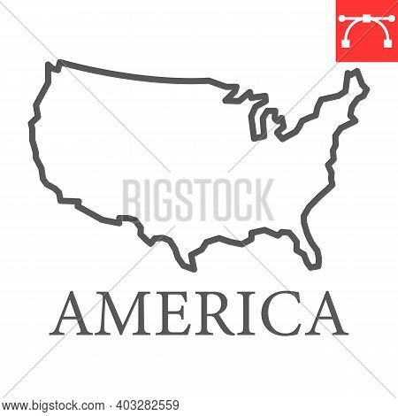 Map Of Usa Line Icon, Country And North America, Usa Map Sign Vector Graphics, Editable Stroke Linea