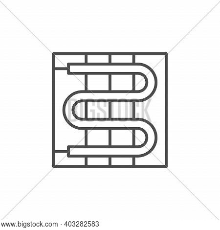 Electric Warm Floor Line Icon Isolated On White. Vector Illustration