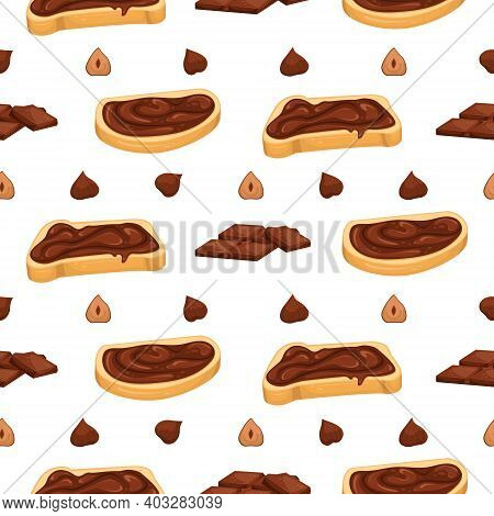 Seamless Pattern With Chocolate Paste, Chocolate And Nut Sandwiches. Sweet Sandwich. Dessert.