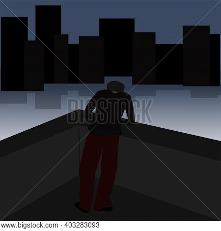 Human Alone Stands On The Bridge. Loneliness. Depressed Teenager. Vector Illustration.
