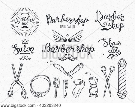 Barber Shop Badge, Logo, Label, Mens Hair Salon Icons. Modern Brush Lettering, Hand Drawn Illustrati