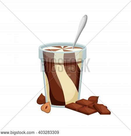 Vector Illustration Of An Open Jar Of Chocolate Paste With A Spoon Inside. Sweet Snack. Chocolate-nu