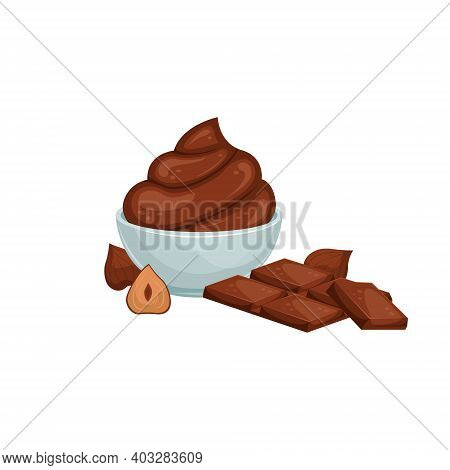 Vector Illustration Of A Cream Bowl With Chocolate Paste, Nuts And Chocolate. Sweet Snack. Chocolate