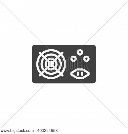 Pc Power Supply Vector Icon. Filled Flat Sign For Mobile Concept And Web Design. Computer Power Supp