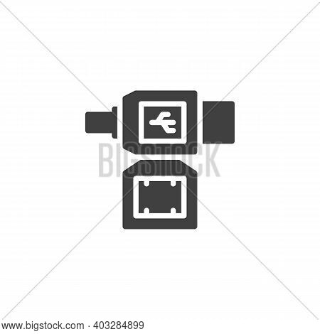 Lan Cable Plug Vector Icon. Filled Flat Sign For Mobile Concept And Web Design. Ethernet Connectors