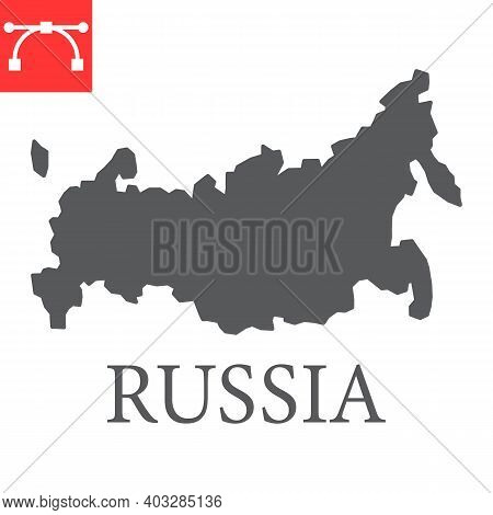 Map Of Russia Glyph Icon, Country And Geography, Russia Map Sign Vector Graphics, Editable Stroke So