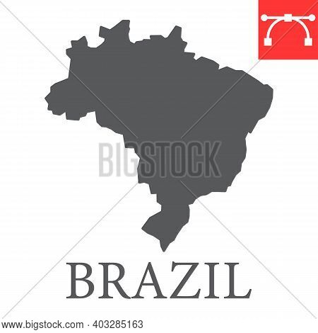 Map Of Brazil Glyph Icon, Country And Geography, Brazil Map Sign Vector Graphics, Editable Stroke So