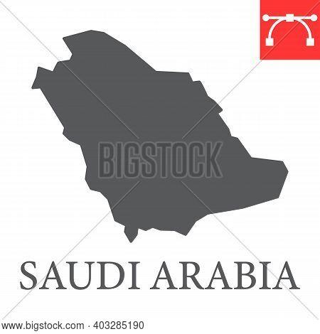 Map Of Saudi Arabia Glyph Icon, Country And Geography, Saudi Arabia Map Sign Vector Graphics, Editab