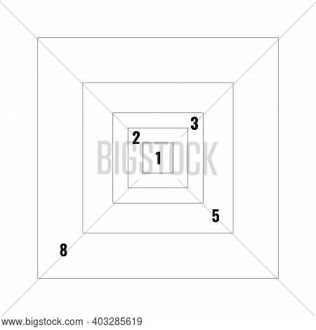 Golden Section Ratio Or Proportion Squares. Harmonious Concept With Rectangle. Vector Illustration..